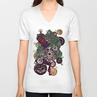mad hatter V-neck T-shirts featuring Gothic Mad Hatter by AKIKO