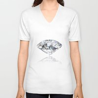diamonds V-neck T-shirts featuring diamonds by Kazuma Shimizu