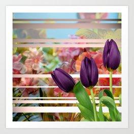 Flower Garden & Purple Tulips Stripes Collage Art Print