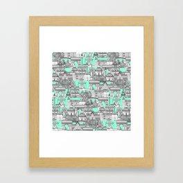 Paris toile aquamarine Framed Art Print