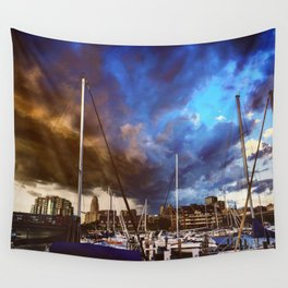 Storm Over the Erie Basin Marina Wall Tapestry