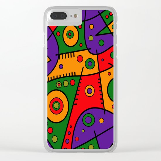Abstract #240 Pizza Party Clear iPhone Case