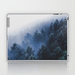 Foggy Blue Purple Mountain hill Pine Trees Landscape Nature Photography Minimalist Modern Art Laptop & iPad Skin