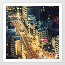 tokyo aerial street view Art Print