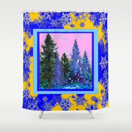 YELLOW-BLUE WINTER SNOWFLAKES  FOREST TREE  ART Shower Curtain