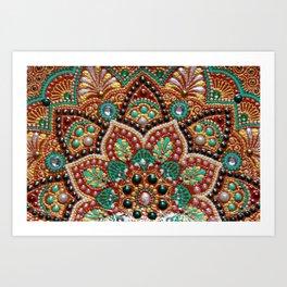 Copper flower mandala Art Print