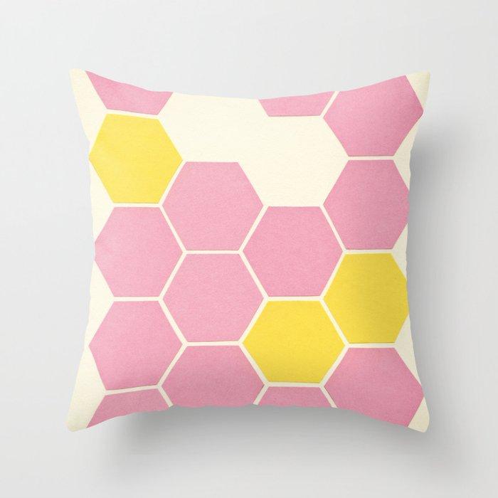 Pink Honeycomb Throw Pillow