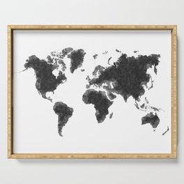 World Map Black Sketch, Map Of The World, Wall Art Poster, Wall Decal, Earth Atlas, Geography Map Serving Tray