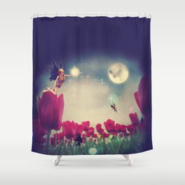 Dream fairy in fantasy land with bright red tulips at night time Shower Curtain