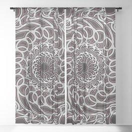 Mandala 12 White/Ivory on Deep Black Background with Edging Sheer Curtain