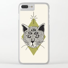5 Eyed Cat Clear iPhone Case