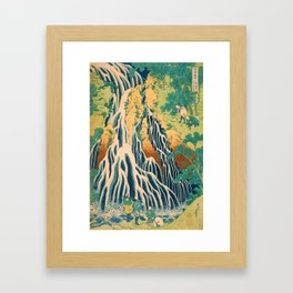 Pilgrims at Kirifuri Waterfall on Mount Kurokami in Shimotsuke Province Framed Art Print