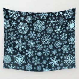 Blue Snowflake Background Wall Tapestry