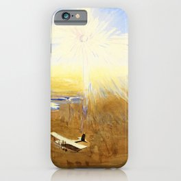 12,000pixel- Flying Over the Desert at Sunset, Mesopotamia, watercolor - Sydney William Carline iPhone Case