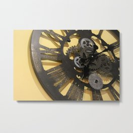 Modern style clock with visible gears Metal Print