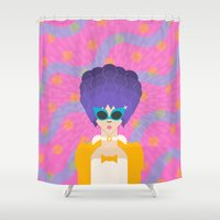 marie antoinette Shower Curtains featuring Modern Marie Antoinette by sansUnicorn