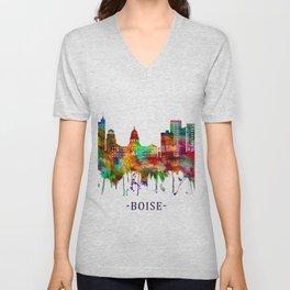 Boise Idaho Skyline Unisex V-Neck
