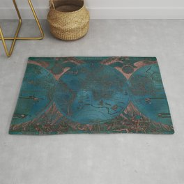 Rose gold and teal antique world map with sail ships Rug