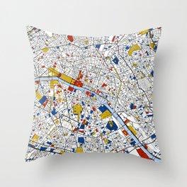 Paris Mondrian Map Art Throw Pillow