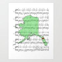 Alaska Color It Green State Map Music Sheet Print Art Print