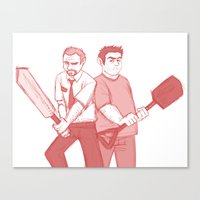 shaun of the dead Canvas Prints featuring shaun of the dead by Marie Mikolay