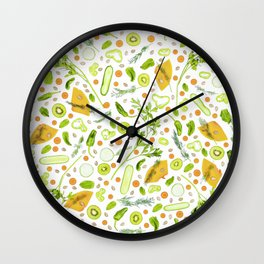Fruits and vegetables pattern (20) Wall Clock