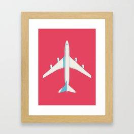 747-400 Jumbo Jet Airliner Aircraft - Crimson Framed Art Print