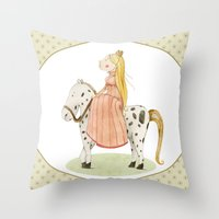princess Throw Pillows featuring Princess by Judith Loske