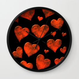 Rusty Red Metallic Hearts Pattern Wall Clock