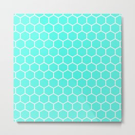 Honeycomb (White & Turquoise Pattern) Metal Print