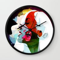 kiss Wall Clocks featuring Kiss by Alvaro Tapia Hidalgo