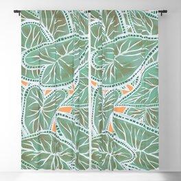 Tropical Caladium Leaves Pattern - Green Blackout Curtain