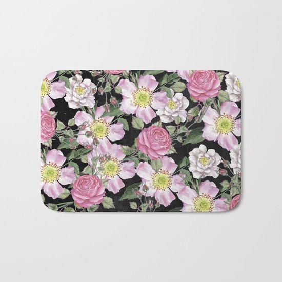 Vintage Rose Pattern Pink On Chalkboard Bath Mat