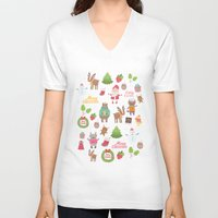 merry christmas V-neck T-shirts featuring Merry Christmas by Anna Alekseeva kostolom3000