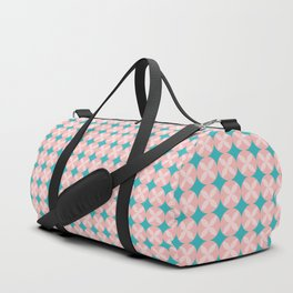 Pink Circle Flower Pattern with Aqua Background Duffle Bag
