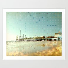 Vintage Beach Boardwalk Art Print