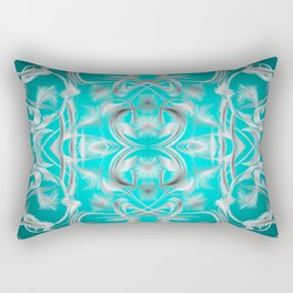 silver in mint Digital pattern with circles and fractals artfully colored design for house Rectangular Pillow