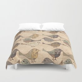 nostalgic autumn patchwork bird pattern in warm retro colors duvet cover