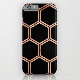 Black onyx copper hexagons iPhone Case