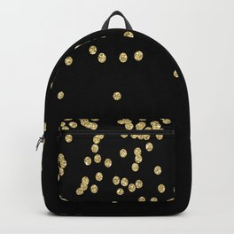 Sparkling gold glitter confetti on black - Luxury design Backpack