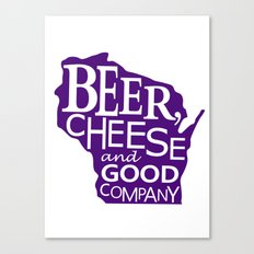 Purple and White Beer, Cheese and Good Company Wisconsin Graphic Canvas Print