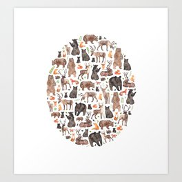 Woodland or Forest Animals! Art Print