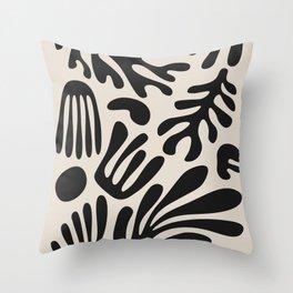 Matisse Cut Outs Ecru Beige Black Mid Century Modern Art Throw Pillow