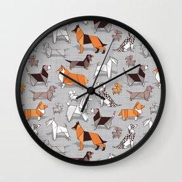 Origami doggie friends // grey linen texture background Wall Clock