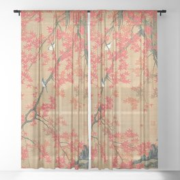 Flowers Japanese U-kiyo Sheer Curtain