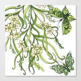 Butterflies In Flowers Canvas Print