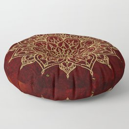 Deep Red & Gold Mandala Floor Pillow