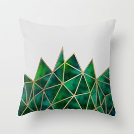 Emerald & Gold Geometric Throw Pillow