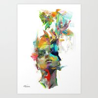 new girl Art Prints featuring Dream Theory by Archan Nair