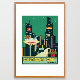 Celadon City Poké Poster Framed Art Print
